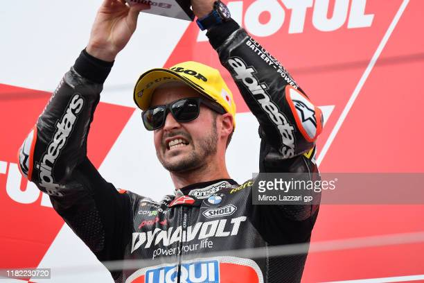 Thomas Luthi of Swiss and Dynavolt Intact GP celebrates the second place on the podium during the Moto2 race during the MotoGP of Japan - Race at...