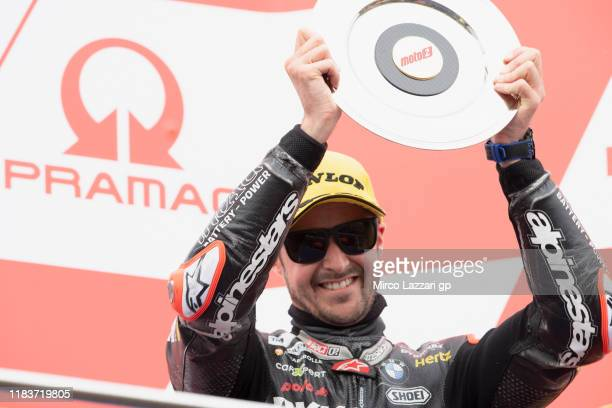 Thomas Luthi of Swiss and Dynavolt Intact GP celebrates the third place on the podium during the Moto2 race during the 2019 MotoGP of Australia at...