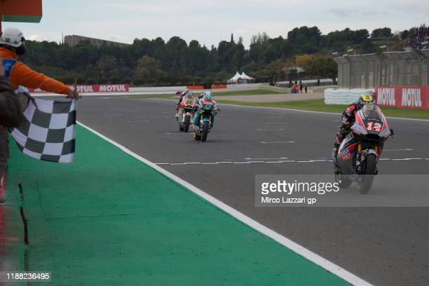 Thomas Luthi of Swiss and Dynavolt Intact GP cuts the finish lane and celebrates the second place at the end of the Moto2 race during the MotoGP Of...