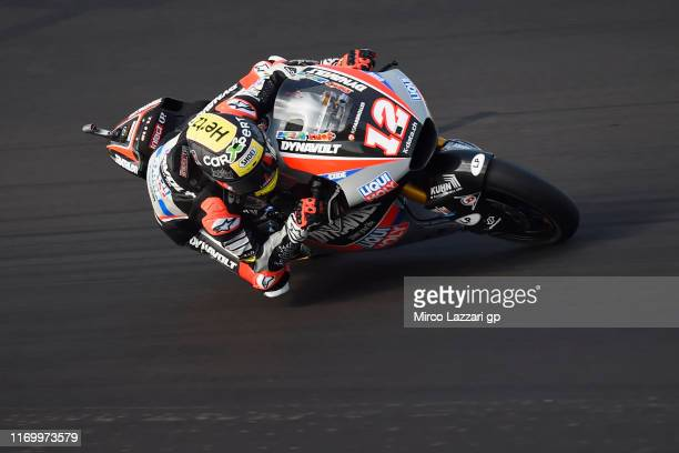 Thomas Luthi of Swiss and Dynavolt Intact GP heads down a straight during the British GP Moto2 qualifying at Silverstone Circuit on August 24, 2019...