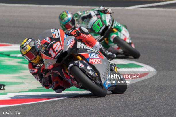 Thomas Luthi of Swiss and Dynavolt Intact GP leads the field during the MotoGp of Italy - Free Practice at Mugello Circuit on May 31, 2019 in...