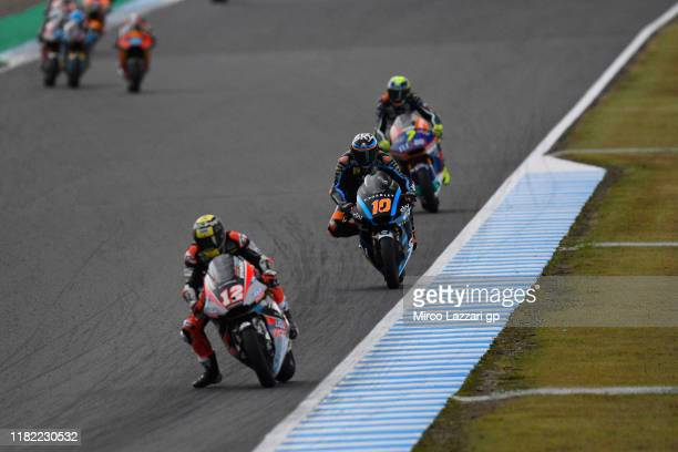 Thomas Luthi of Swiss and Dynavolt Intact GP leads the field during the Moto2 race during the MotoGP of Japan - Race at Twin Ring Motegi on October...