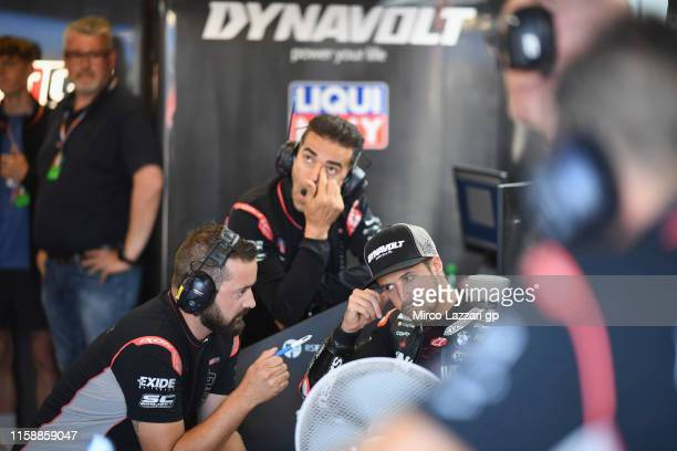 Thomas Luthi of Swiss and Dynavolt Intact GP looks on in box during the MotoGP Netherlands - Free Practice on June 28, 2019 in Assen, Netherlands.