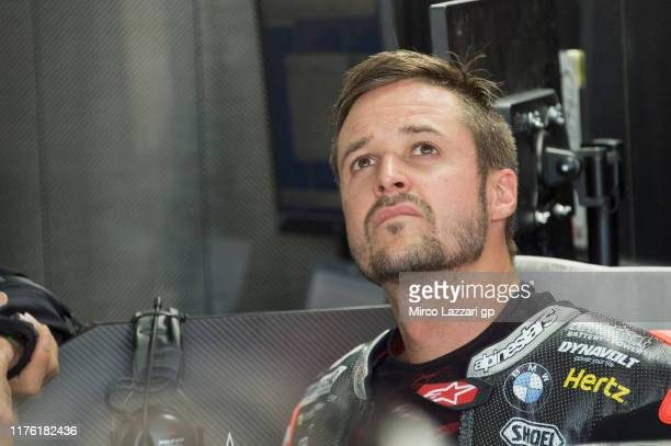 Thomas Luthi of Swiss and Dynavolt Intact GP looks on in box during the MotoGp of Aragon - Qualifying on September 21, 2019 in Alcaniz, Spain.