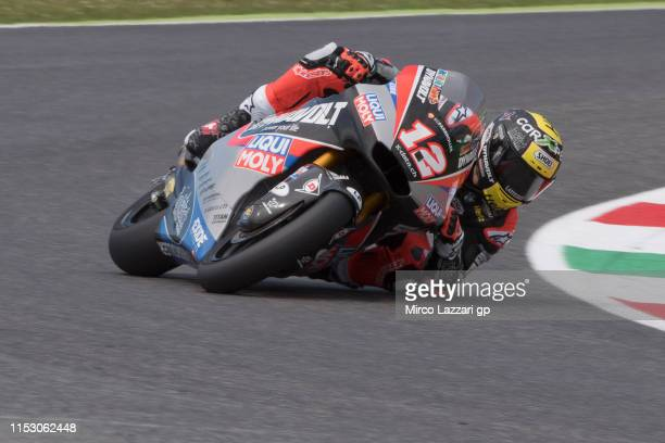 Thomas Luthi of Swiss and Dynavolt Intact GP rounds the bend during the qualifying practice during the MotoGp of Italy - Qualifying at Mugello...