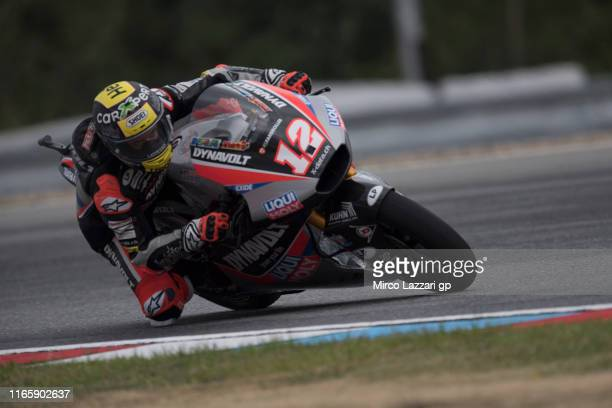 Thomas Luthi of Swiss and Dynavolt Intact GP rounds the bend during the MotoGp of Czech Republic - Qualifying at Brno Circuit on August 03, 2019 in...