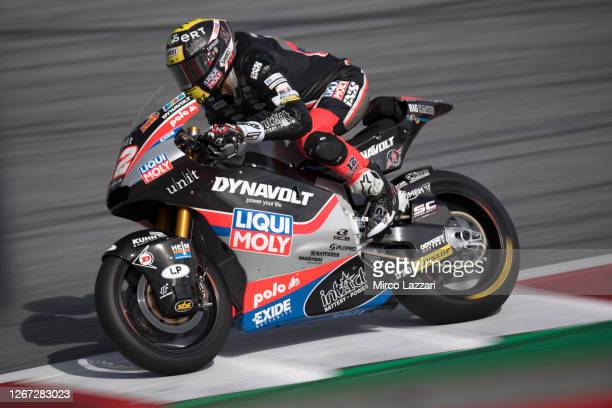 Thomas Luthi of Swiss and Liqui Moly Intact GP heads down a straight during the MotoGP Of Austria - Qualifying at Red Bull Ring on August 15, 2020 in...