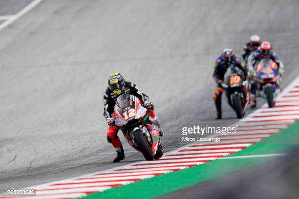 Thomas Luthi of Swiss and Liqui Moly Intact GP leads the field during the Moto2 race during the MotoGP Of Styria - Race at Red Bull Ring on August...