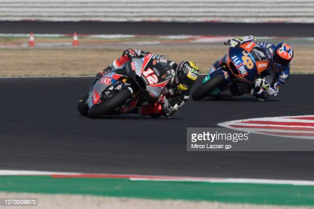 Thomas Luthi of Swiss and Liqui Moly Intact GP leads the field during the MotoGP Of San Marino - Qualifying at Misano World Circuit on September 19,...