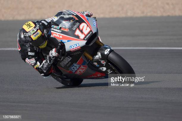 Thomas Luthi of Swiss and Liqui Moly Intact GP rounds the bend during the Moto2 And Moto3 Tests In Jerez at Circuito de Jerez on February 20, 2020 in...