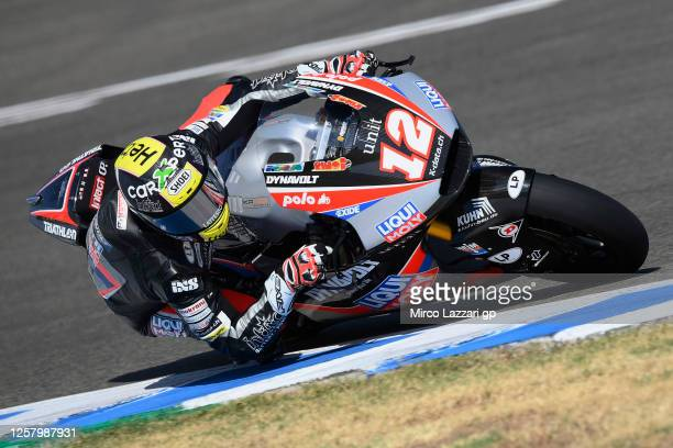 Thomas Luthi of Swiss and Liqui Moly Intact GP rounds the bend during the MotoGP of Andalucia - Free Practice at Circuito de Jerez on July 24, 2020...