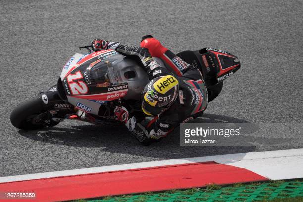 Thomas Luthi of Swiss and Liqui Moly Intact GP rounds the bend during the MotoGP Of Austria - Qualifying at Red Bull Ring on August 15, 2020 in...