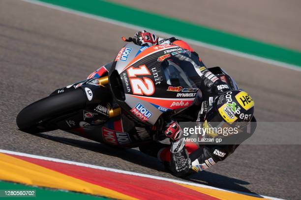 Thomas Luthi of Swiss and Liqui Moly Intact GP rounds the bend during the free practice for the MotoGP of Aragon at Motorland Aragon Circuit on...
