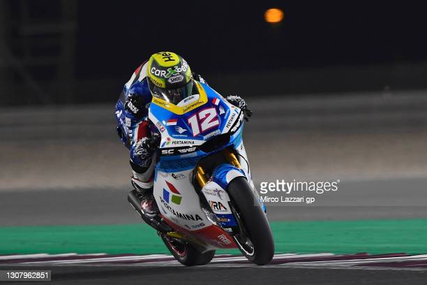 Thomas Luthi of Swiss and Pertamina Mandalika SAG Team heads down a straight during the Moto2 & Moto3 Winter Tests at Losail Circuit on March 19,...