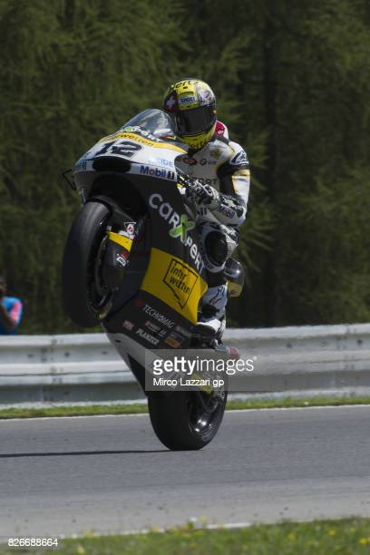 Thomas Luthi of Switzerland and Carxpert Interwetten lifts the front wheel during the MotoGp of Czech Republic - Qualifying at Brno Circuit on August...