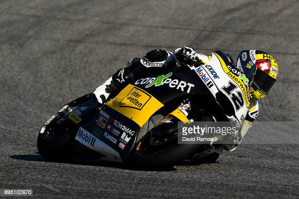 Thomas Luthi of Switzerland and CarXpert Interwetten rides during the Moto2 warmup ahead of the Moto2 race at Circuit de Catalunya on June 11 2017 in...