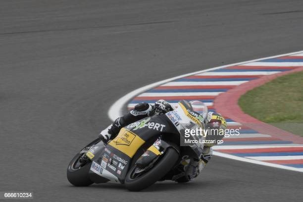 Thomas Luthi of Switzerland and Carxpert Interwetten rounds the bend during the Moto2 race during the MotoGp of Argentina Race on April 9 2017 in Rio...