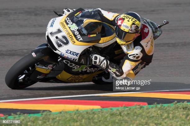 Thomas Luthi of Switzerland and Carxpert Interwetten rounds the bend during the Moto2 race during the MotoGp of Germany Race at Sachsenring Circuit...