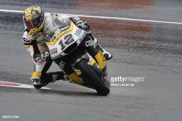 Thomas Luthi of Switzerland and Carxpert Interwetten rounds the bend during the MotoGp of Austria Free Practice at Red Bull Ring on August 11 2017 in...