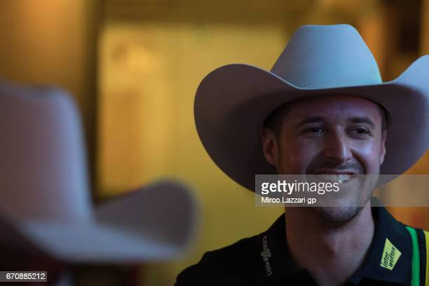 "Thomas Luthi of Switzerland and Carxpert Interwetten smiles during the pre-event ""Riders have a private and exciting dance lesson in Broken Spoke..."