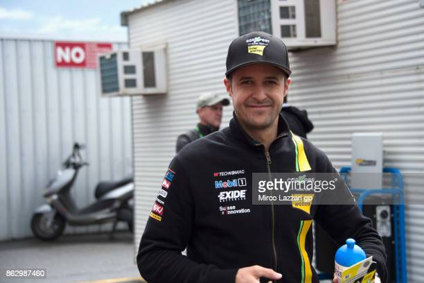 Thomas Luthi of Switzerland and Carxpert Interwetten smiles in paddock during previews ahead of the 2017 MotoGP of Australia at Phillip Island Grand...