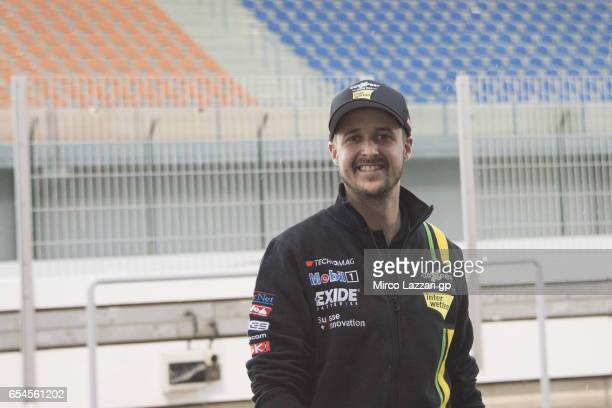 Thomas Luthi of Switzerland and Carxpert Interwetten smiles in pit during the Moto2 And Moto3 Tests In Losail at Losail Circuit on March 17, 2017 in...