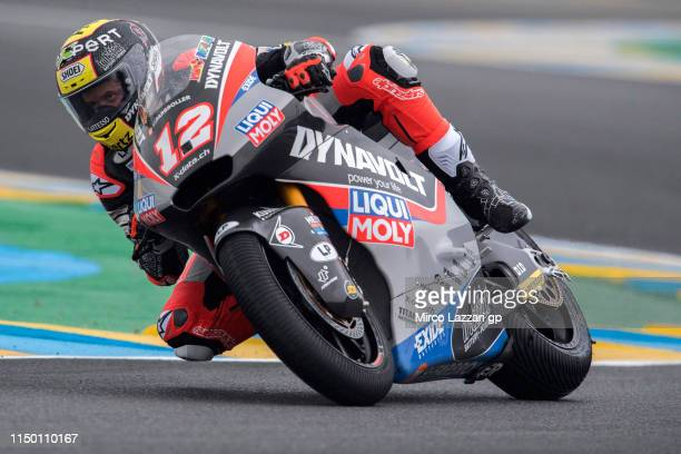 Thomas Luthi of Switzerland and Dynavolt Intact GP rounds the bend during the MotoGp of France - Qualifying on May 18, 2019 in Le Mans, France.