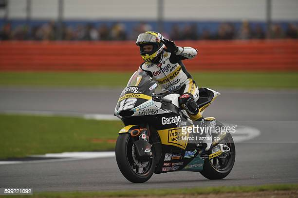 Thomas Luthi of Switzerland and Garage Plus Interwetten greets the fans during the Moto2 race during the MotoGp Of Great Britain Race at Silverstone...