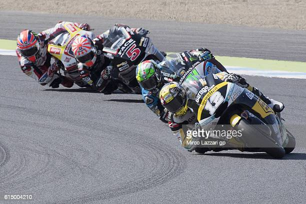 Thomas Luthi of Switzerland and Garage Plus Interwetten leads the field during the Moto2 race during the MotoGP of Japan Race at Twin Ring Motegi on...