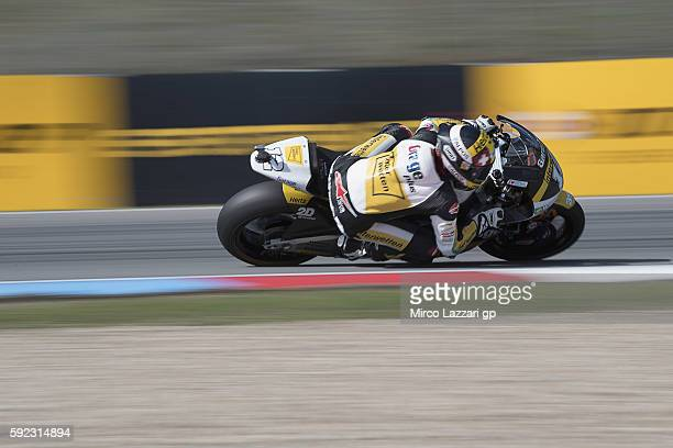 Thomas Luthi of Switzerland and Garage Plus Interwetten rounds the bend during the qualifying practice during the MotoGp of Czech Republic Qualifying...