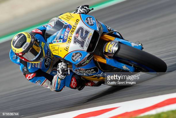 Thomas Luthi of Switzerland and Team EG 00 Marc VDS rounds the bend during free practice for the MotoGP of Catalunya at Circuit de Catalunya on June...