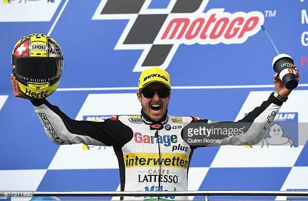 Thomas Luthi of Switzerland and the Garage Plus Interwetten team celebrates winning the Moto2 during the 2016 MotoGP of Australia at Phillip Island...
