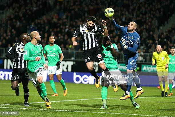 Thomas Mangani of Angers and Stephane Ruffier of Saint Etienne during the French Ligue 1 match between Angers SCO v AS SaintEtienne at Stade...