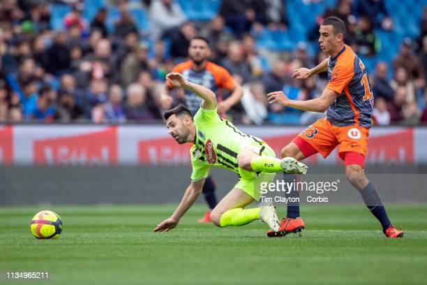 Thomas Mangani of Angers challenged by Ellyes Skhiri of Montpellier during the Montpellier V Angers French Ligue 1 regular season match at Stade de...