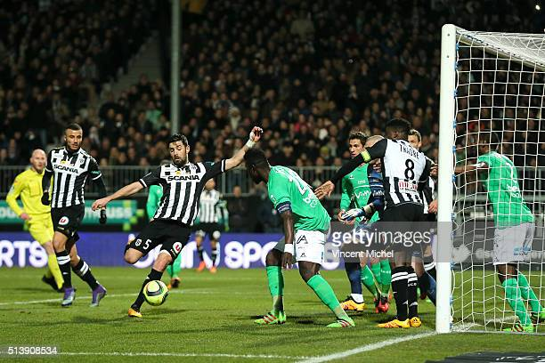 Thomas Mangani of Angers during the French Ligue 1 match between Angers SCO v AS SaintEtienne at Stade JeanBouin on March 5 2016 in Angers France