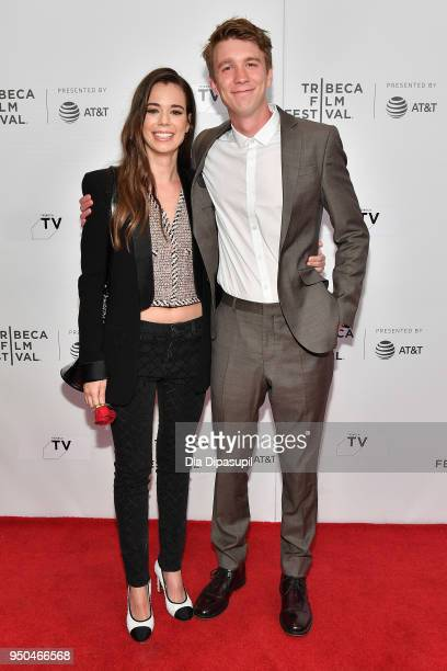"""Thomas Mann and Laia Costa attend the screening of """"Maine"""" during the 2018 Tribeca Film Festival at Cinepolis Chelsea on April 23, 2018 in New York..."""