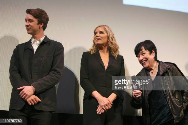 Thomas Mann Kim Dickens and Kathy Bates speak onstage at The Highway Man Premiere during the 2019 SXSW Conference and Festivals at Paramount Theatre...
