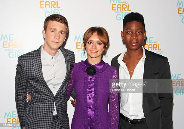 Thomas Mann Olivia Cooke and RJ Cyler attend the UK Premiere of 'Me And Earl And The Dying Girl' during Film4 Summer Screenings at Somerset House on...