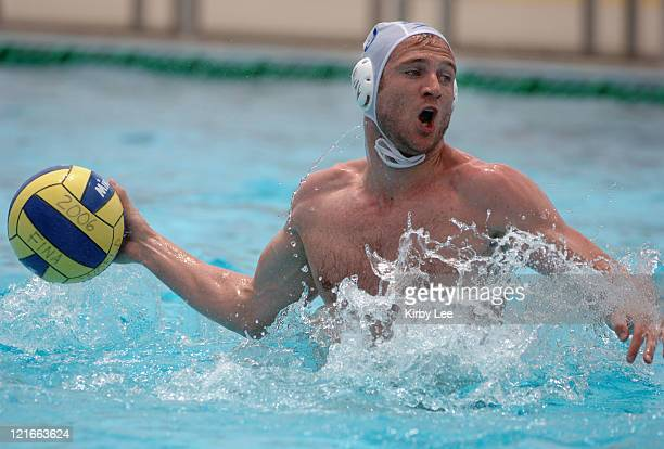 Thomas Marks of Canada takes a shot during 64 loss to China in FINA World League semifinals at the USA Water Polo National Training Center in Los...