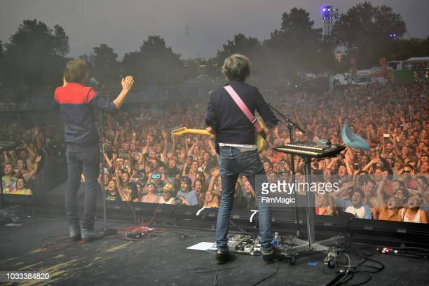 Thomas Mars and Laurent Brancowitz of Phoenix perform on the Scissor Stage during day 1 of Grandoozy on September 14 2018 in Denver Colorado