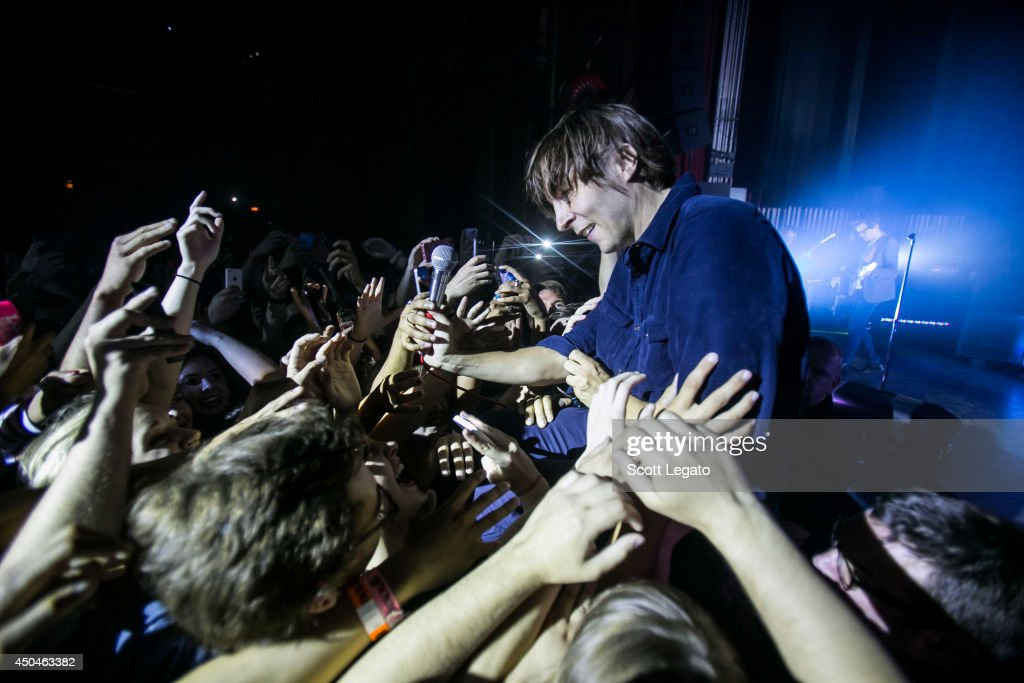 Thomas Mars of Phoenix performs at The Fillmore on June 11, 2014 in Detroit, Michigan.
