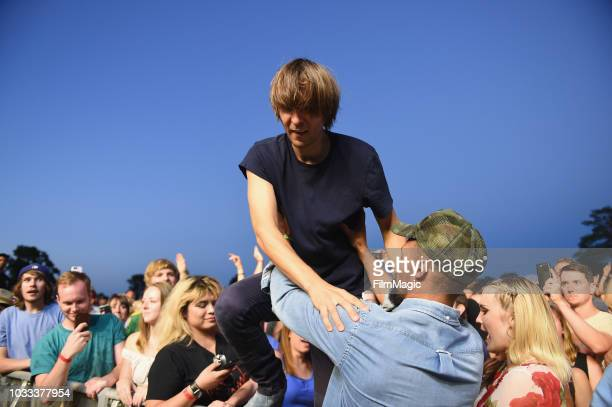 Thomas Mars of Phoenix performs in the crowd at the Scissor Stage during day 1 of Grandoozy on September 14 2018 in Denver Colorado