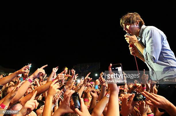 Thomas Mars of Phoenix performs live for fans as part of the 2014 Future Music Festival at Royal Randwick Racecourse on March 8 2014 in Sydney...