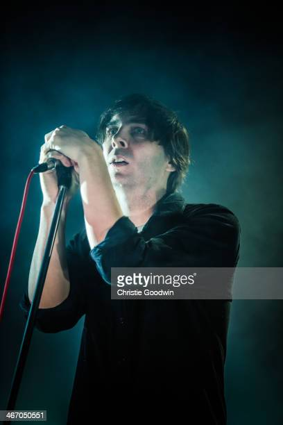 Thomas Mars of Phoenix performs on stage at the NME Awards Show at Brixton Academy on February 5 2014 in London United Kingdom