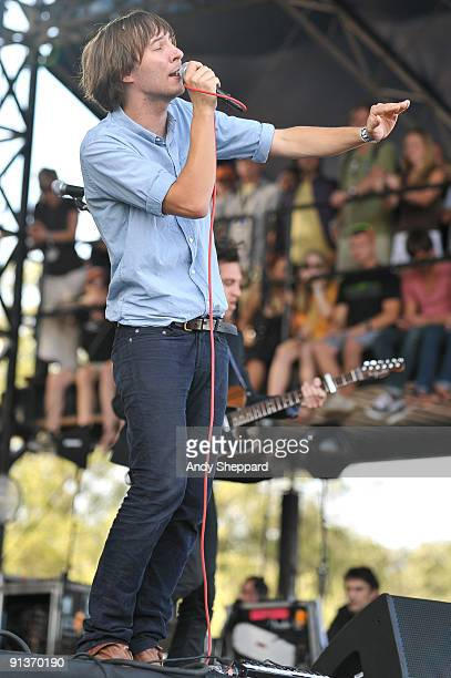 Thomas Mars of Phoenix performs on stage on the Day 1 of Austin City Limits Festival 2009 at Zilker Park on October 2 2009 in Austin Texas