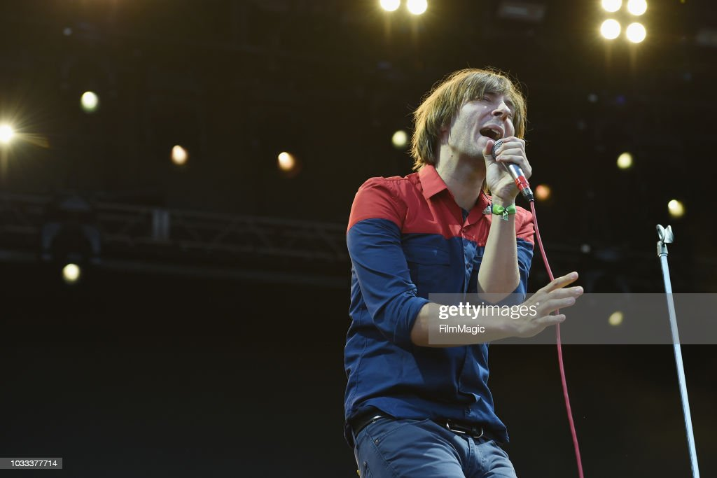 Thomas Mars of Phoenix performs on the Scissor Stage during day 1 of Grandoozy on September 14, 2018 in Denver, Colorado.