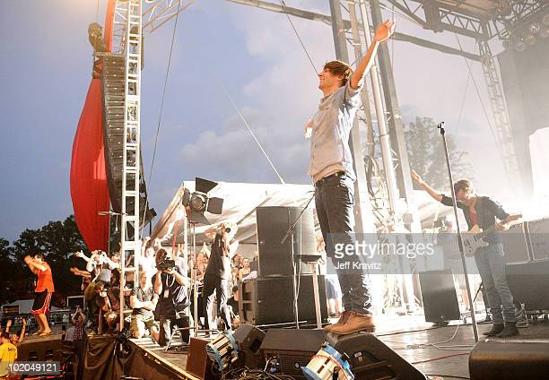Thomas Mars of Phoenix performs onstage during Bonnaroo 2010 at Which Stage on June 13 2010 in Manchester Tennessee