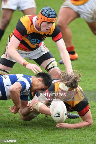 Thomas Martin of Waikato dives for a loose ball in the match day 1 pool game Auckland v Waikato during the 2019 Jock Hobbs Tournament at Owen Delany...