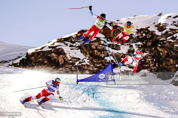 Thomas Mayrpeter in action, Joos Berry of Switzerland in action, Daniel Traxler in action, Francois Place of France in action during the FIS...