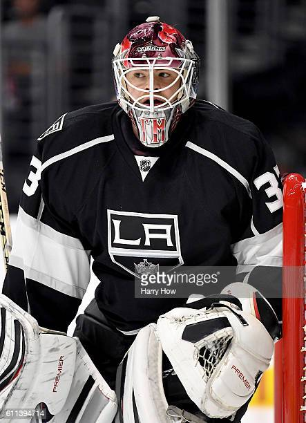 Thomas McCollum in goal during a preseason game against the Anaheim Ducks at Staples Center on September 28 2016 in Los Angeles California